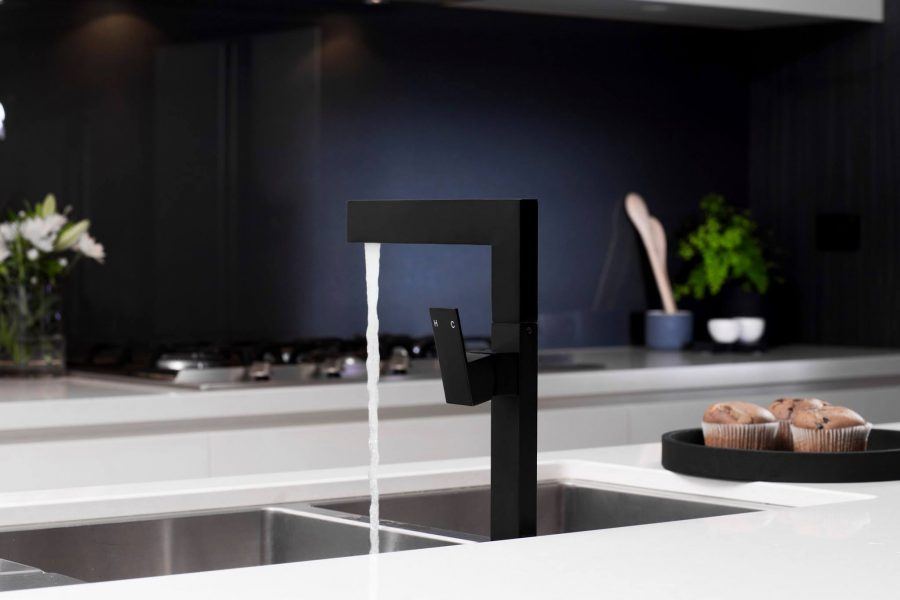 The #MeirBlack square kitchen mixer in action – stocked at Style Tiles and Bathrooms