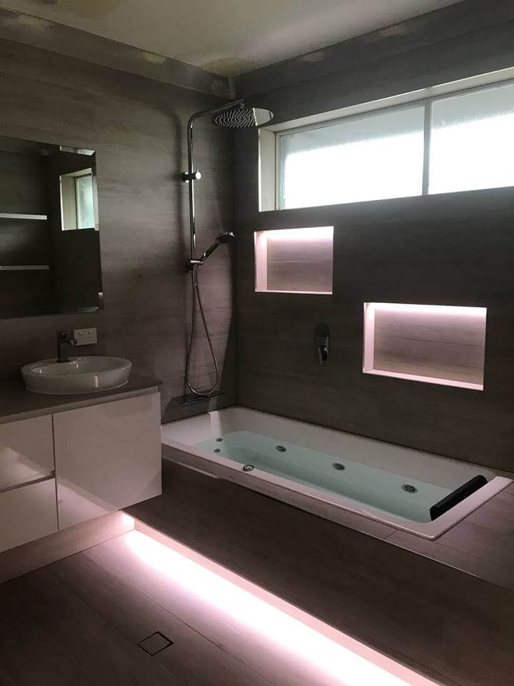 Latest Main Bathroom Renovation Baulkham Hills – Bathroom LED Lighting – Floating Spa